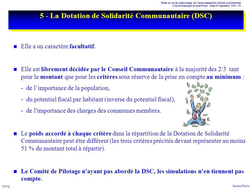 Étude en vue du renforcement de l'intercommunalité urbaine et périurbaine Conseil Municipal de Saint-Point - Jeudi 18 Septembre 2003 - 50 kpmg Secteur