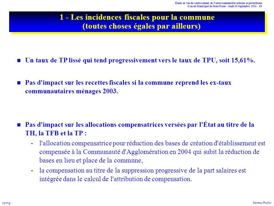 Étude en vue du renforcement de l'intercommunalité urbaine et périurbaine Conseil Municipal de Saint-Point - Jeudi 18 Septembre 2003 - 59 kpmg Secteur