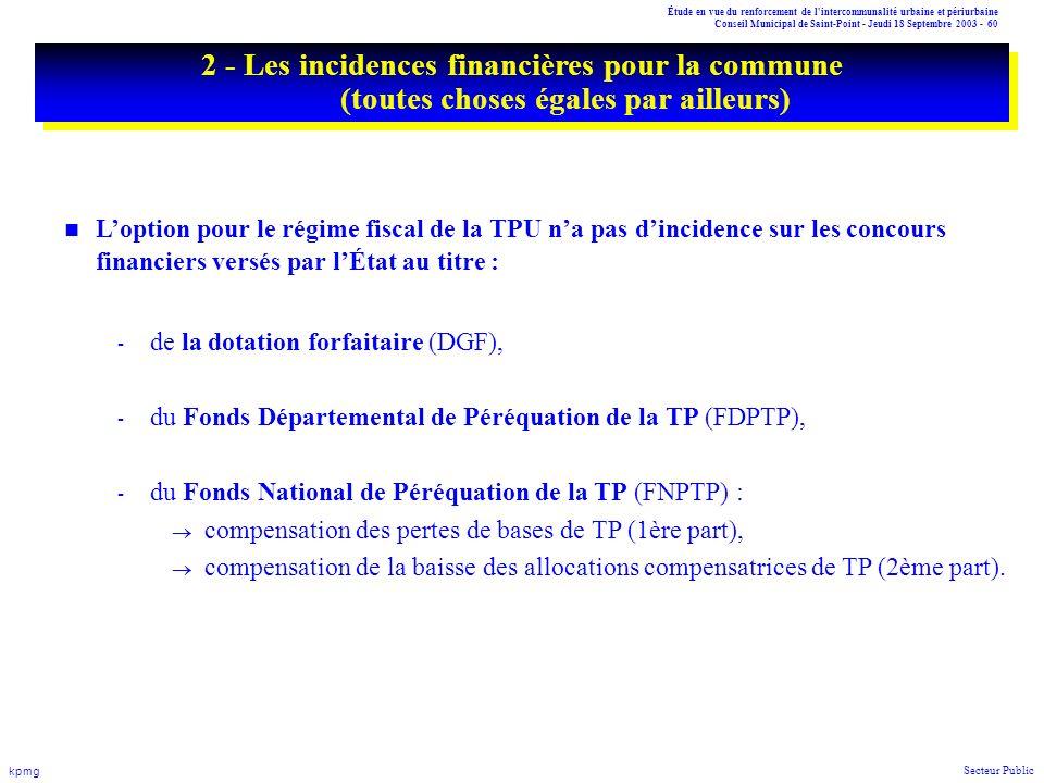 Étude en vue du renforcement de l'intercommunalité urbaine et périurbaine Conseil Municipal de Saint-Point - Jeudi 18 Septembre 2003 - 60 kpmg Secteur