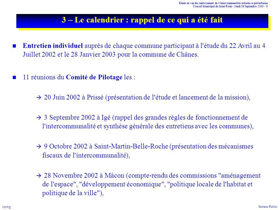Étude en vue du renforcement de l'intercommunalité urbaine et périurbaine Conseil Municipal de Saint-Point - Jeudi 18 Septembre 2003 - 8 kpmg Secteur