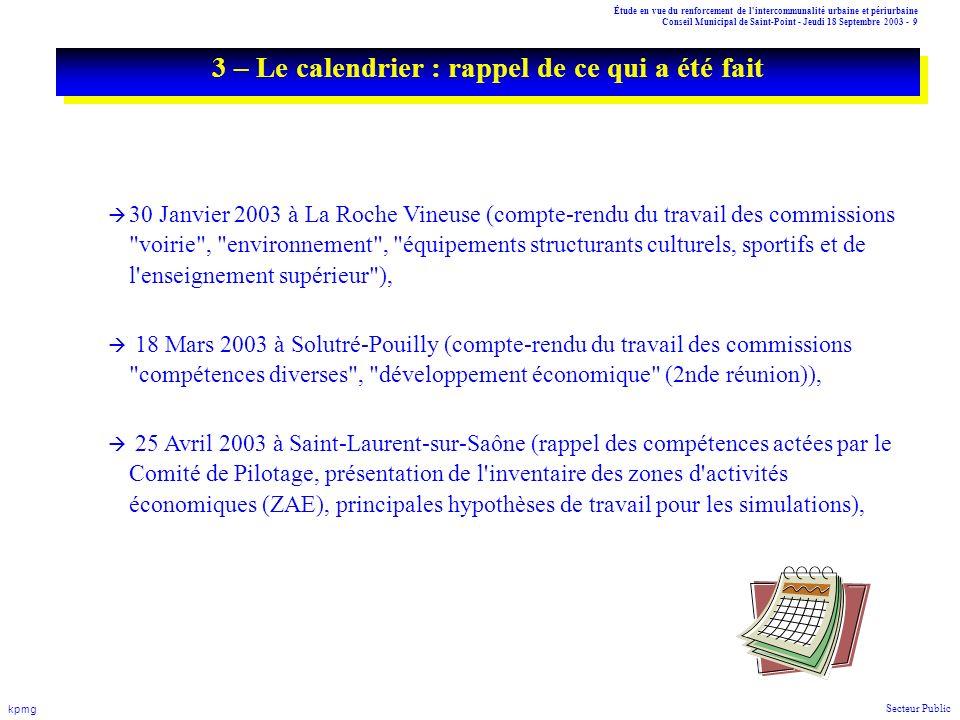 Étude en vue du renforcement de l'intercommunalité urbaine et périurbaine Conseil Municipal de Saint-Point - Jeudi 18 Septembre 2003 - 9 kpmg Secteur