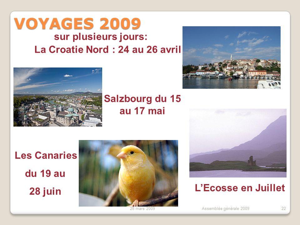 28 mars 2009Assemblée générale 200922 VOYAGES 2009 Biscarosse ou Toulouse, jeudi 11 et vendredi 12 juin Autres Voyages courts, en semaine Oléron, La Rochelle Mardi 7 juillet