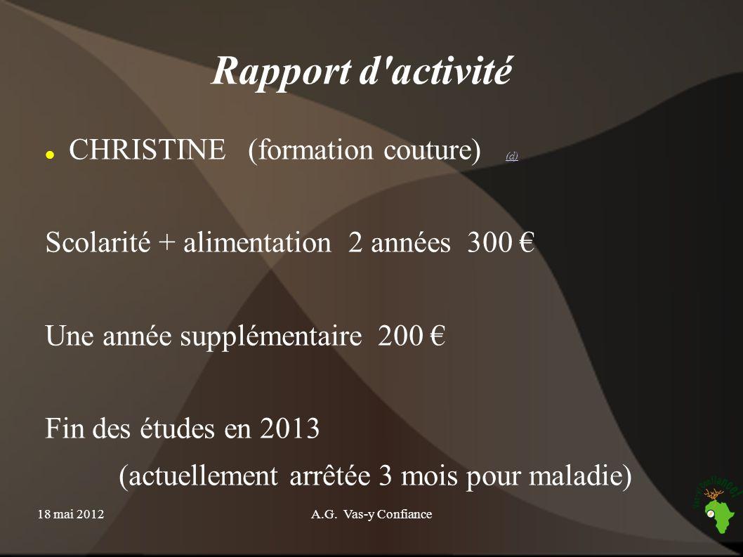 18 mai 2012A.G. Vas-y Confiance Rapport d'activité CHRISTINE (formation couture) (d) (d) Scolarité + alimentation 2 années 300 Une année supplémentair