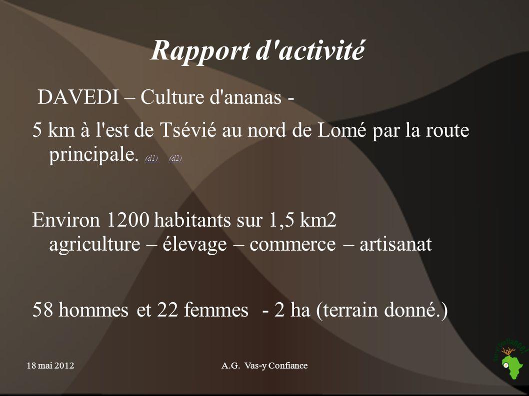 18 mai 2012A.G. Vas-y Confiance Rapport d'activité DAVEDI – Culture d'ananas - 5 km à l'est de Tsévié au nord de Lomé par la route principale. (d1) (d