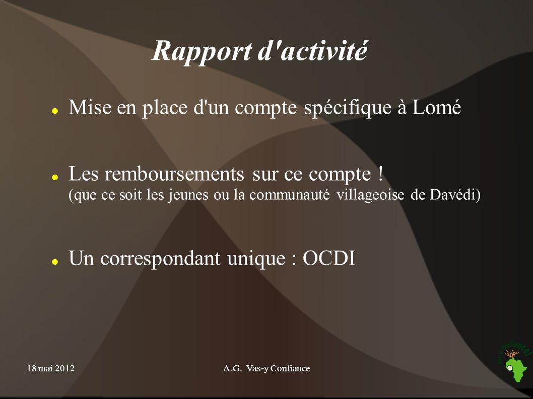 18 mai 2012A.G. Vas-y Confiance Rapport d'activité Mise en place d'un compte spécifique à Lomé Les remboursements sur ce compte ! (que ce soit les jeu