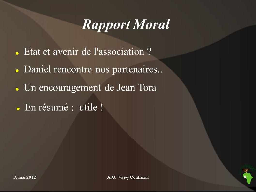 18 mai 2012A.G. Vas-y Confiance Rapport d activité Denis QUIBLIER Secrétaire