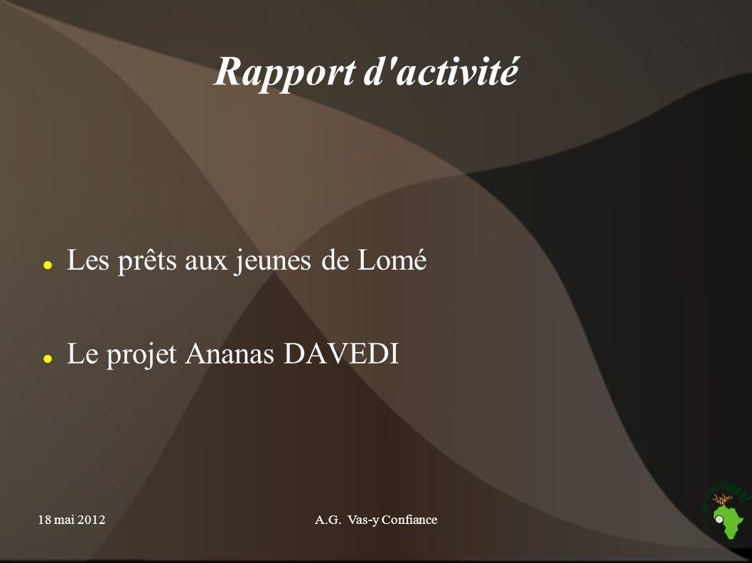 18 mai 2012A.G. Vas-y Confiance Rapport d'activité Les prêts aux jeunes de Lomé Le projet Ananas DAVEDI