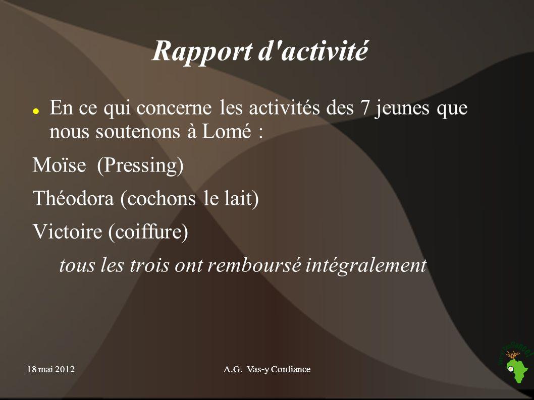 18 mai 2012A.G. Vas-y Confiance Rapport d'activité En ce qui concerne les activités des 7 jeunes que nous soutenons à Lomé : Moïse (Pressing) Théodora