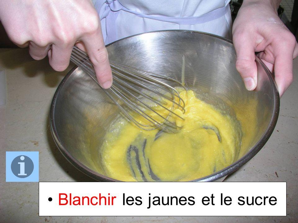 Verser la moitié du lait chaud sur les jaunes tout en fouettant le mélange