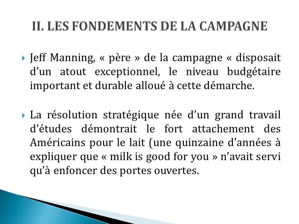 Jeff Manning, « père » de la campagne « disposait dun atout exceptionnel, le niveau budgétaire important et durable alloué à cette démarche.