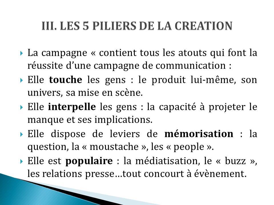 La campagne « contient tous les atouts qui font la réussite dune campagne de communication : Elle touche les gens : le produit lui-même, son univers, sa mise en scène.