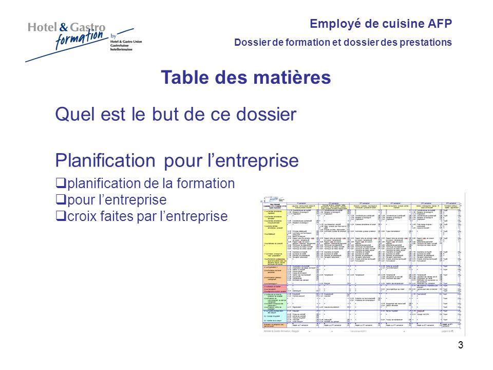 Employé de cuisine AFP Dossier de formation et dossier des prestations Table des matières Quel est le but de ce dossier Planification pour lentreprise