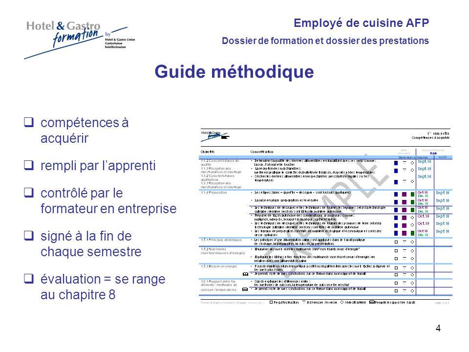 Employé de cuisine AFP Dossier de formation et dossier des prestations Liste des mets remplie par lapprenti contrôlé par le formateur en entreprise et signé recettes à part 5