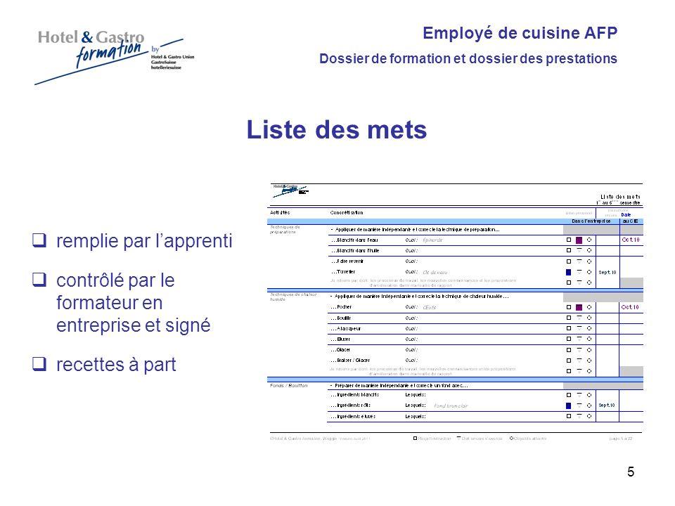 Employé de cuisine AFP Dossier de formation et dossier des prestations Rapport de travail remplie par lapprenti contrôlé par le formateur et signé par le formateur.
