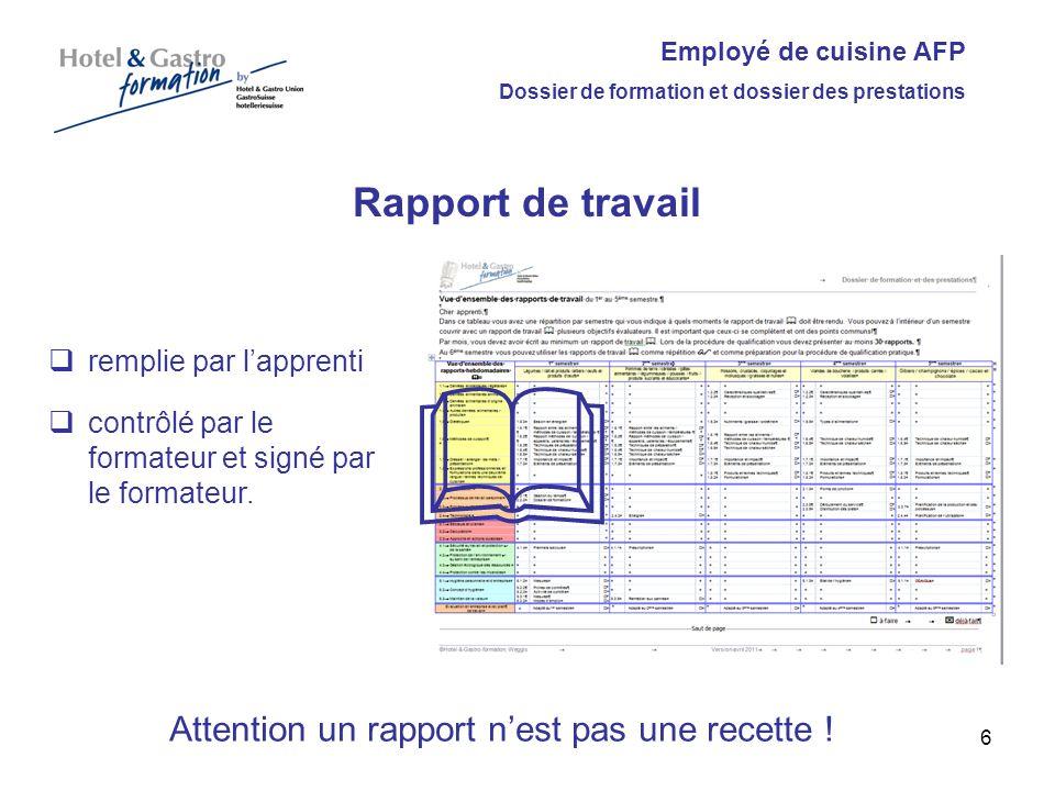 Employé de cuisine AFP Dossier de formation et dossier des prestations Rapport de travail remplie par lapprenti contrôlé par le formateur et signé par