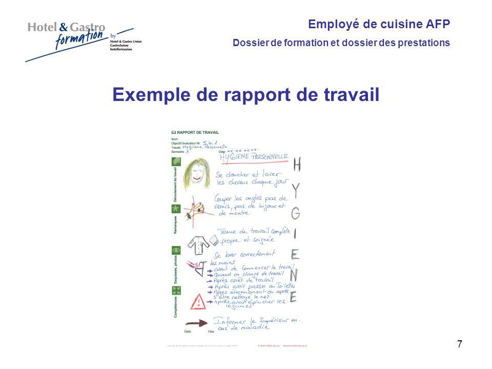 Employé de cuisine AFP Dossier de formation et dossier des prestations Exemple de rapport de travail 7