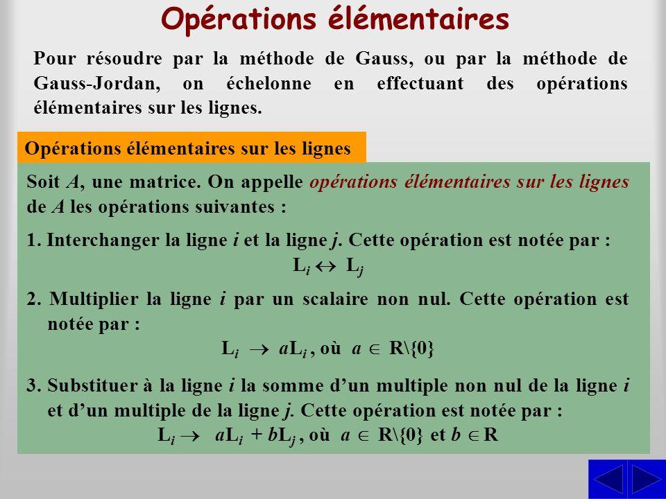 Opérations élémentaires Pour résoudre par la méthode de Gauss, ou par la méthode de Gauss-Jordan, on échelonne en effectuant des opérations élémentair