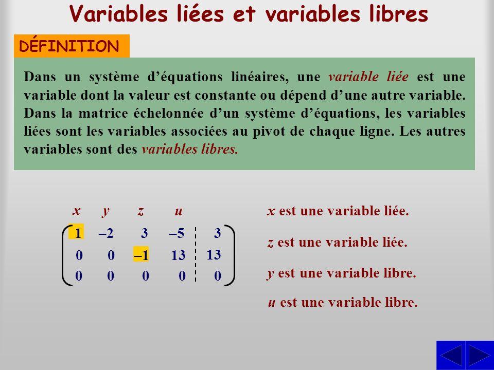Variables liées et variables libres DÉFINITION Dans un système déquations linéaires, une variable liée est une variable dont la valeur est constante o