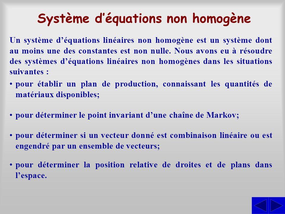 Système déquations non homogène Un système déquations linéaires non homogène est un système dont au moins une des constantes est non nulle. Nous avons