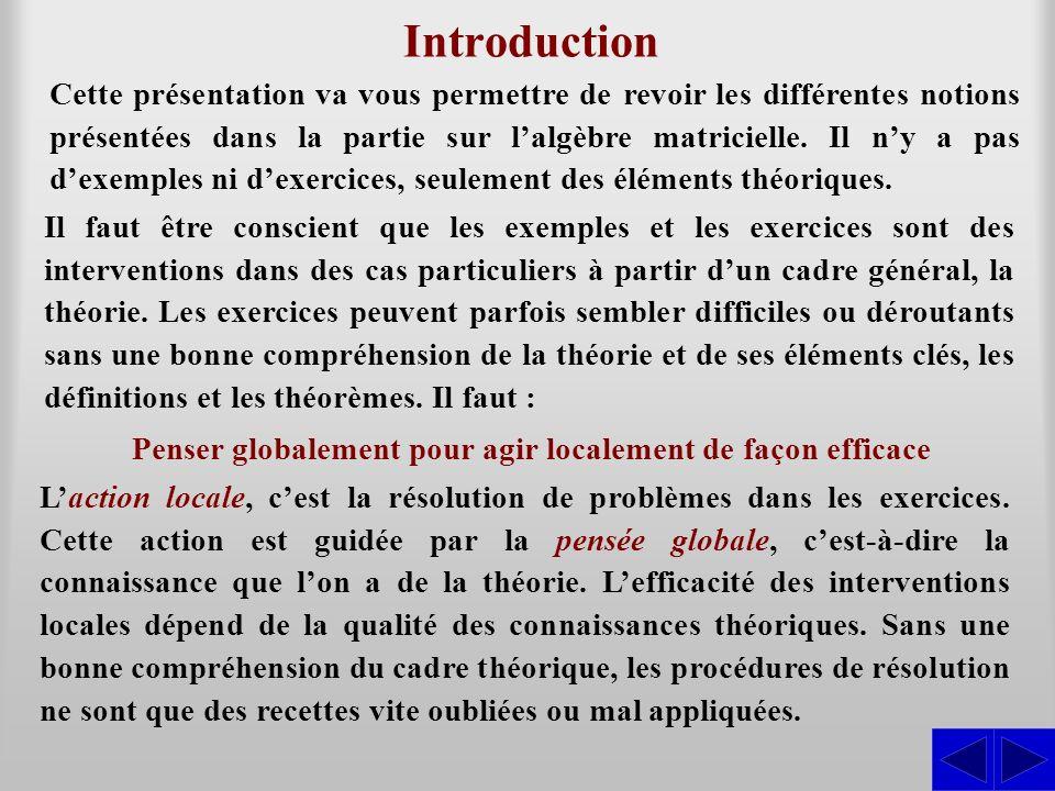 Introduction Cette présentation va vous permettre de revoir les différentes notions présentées dans la partie sur lalgèbre matricielle. Il ny a pas de
