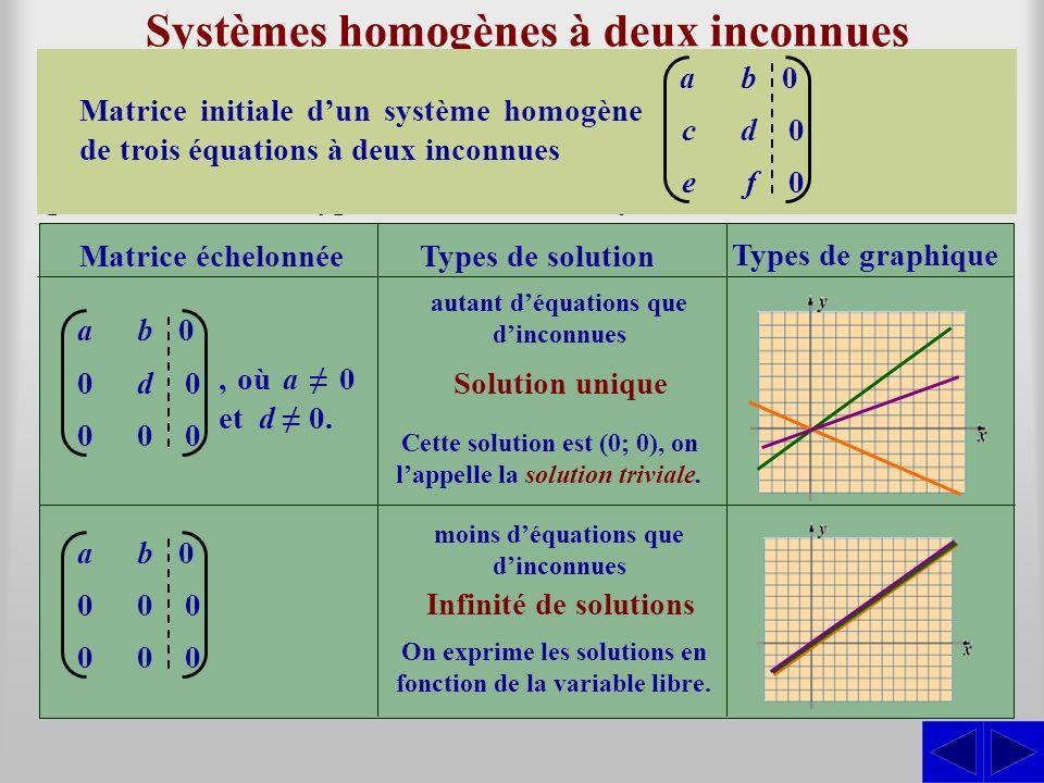 Systèmes homogènes à deux inconnues Un système déquations homogène peut, initialement, avoir plus déquations que dinconnues. Ce nest quaprès avoir éch