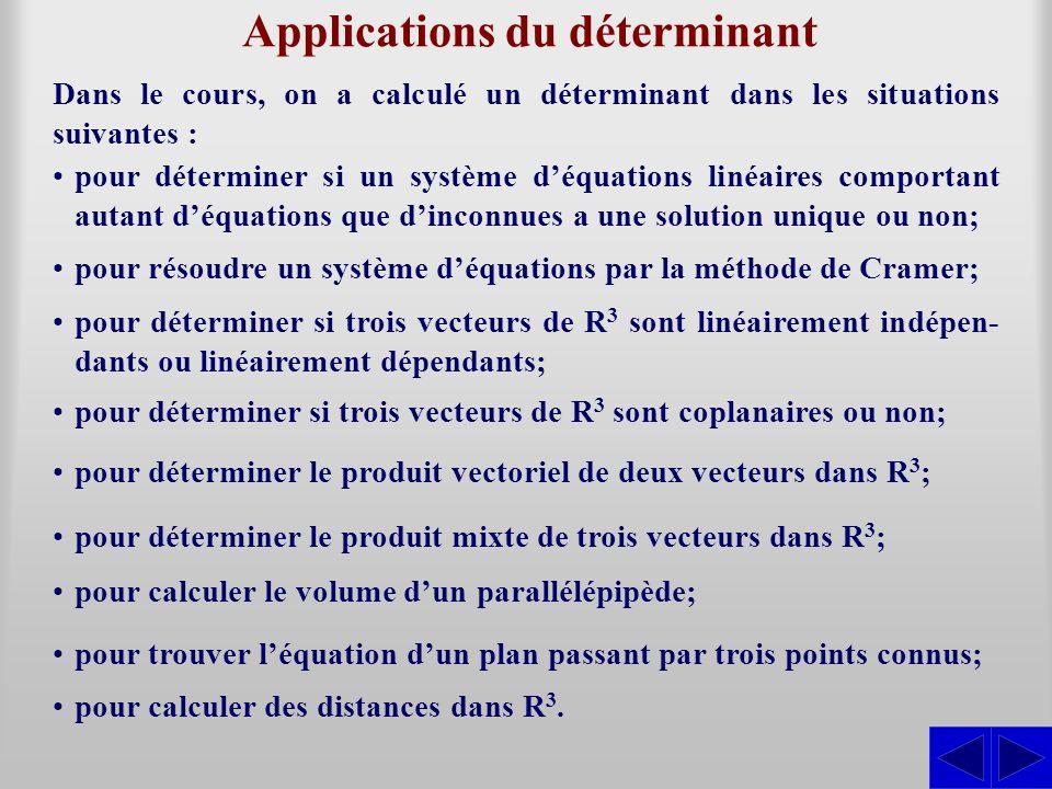 Applications du déterminant Dans le cours, on a calculé un déterminant dans les situations suivantes : pour déterminer si un système déquations linéai
