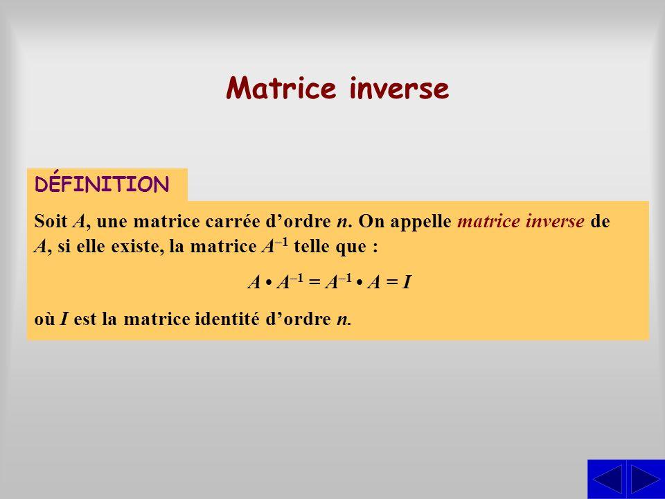 Matrice inverse DÉFINITION Soit A, une matrice carrée dordre n. On appelle matrice inverse de A, si elle existe, la matrice A –1 telle que : A A –1 =