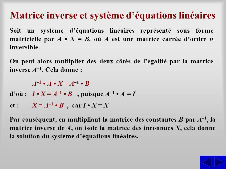 Matrice inverse et système déquations linéaires Soit un système déquations linéaires représenté sous forme matricielle par A X = B, où A est une matri