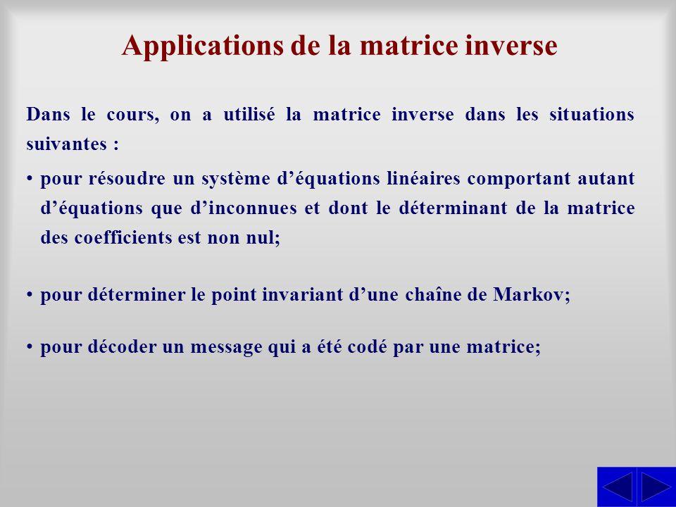 Applications de la matrice inverse Dans le cours, on a utilisé la matrice inverse dans les situations suivantes : pour résoudre un système déquations