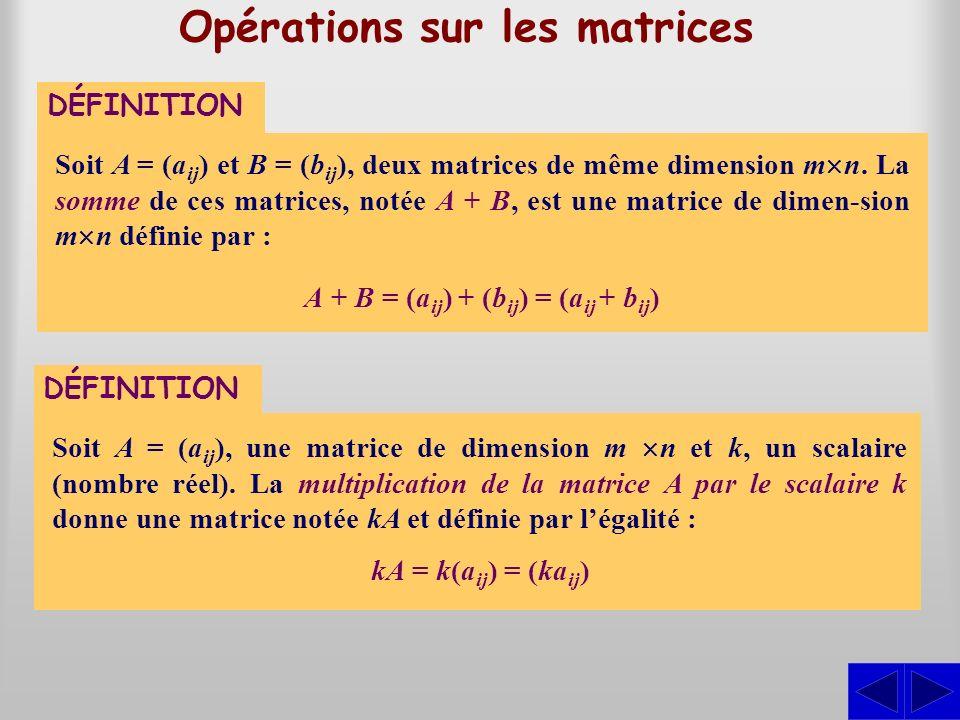 DÉFINITION Opérations sur les matrices Soit A = (a ij ) et B = (b ij ), deux matrices de même dimension m n. La somme de ces matrices, notée A + B, es