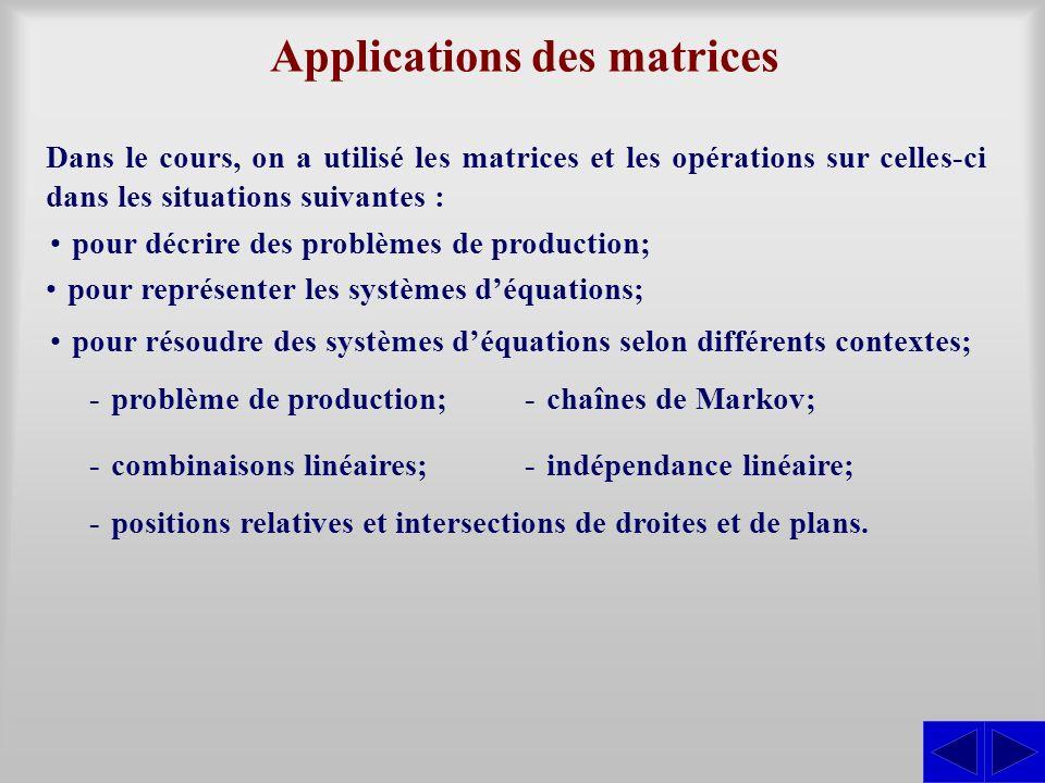 Applications des matrices Dans le cours, on a utilisé les matrices et les opérations sur celles-ci dans les situations suivantes : pour décrire des pr