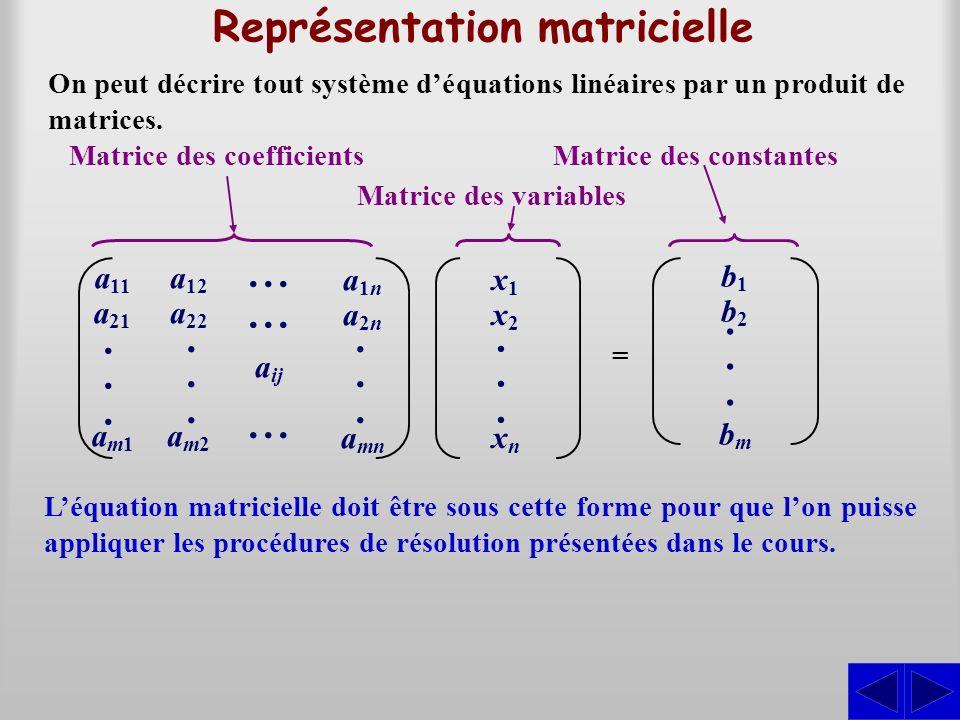 Représentation matricielle Matrice des coefficients Matrice des variables Matrice des constantes =...... a 11 a 21 a m1...... a 12 a 22 a m2...... a 1