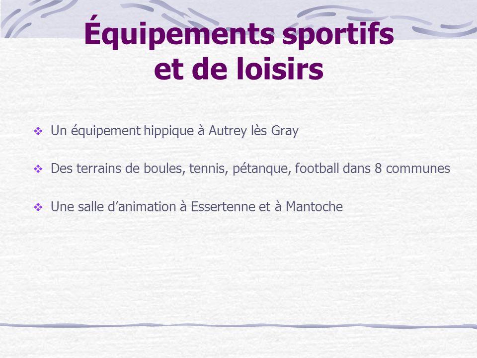 Équipements sportifs et de loisirs Un équipement hippique à Autrey lès Gray Des terrains de boules, tennis, pétanque, football dans 8 communes Une salle danimation à Essertenne et à Mantoche
