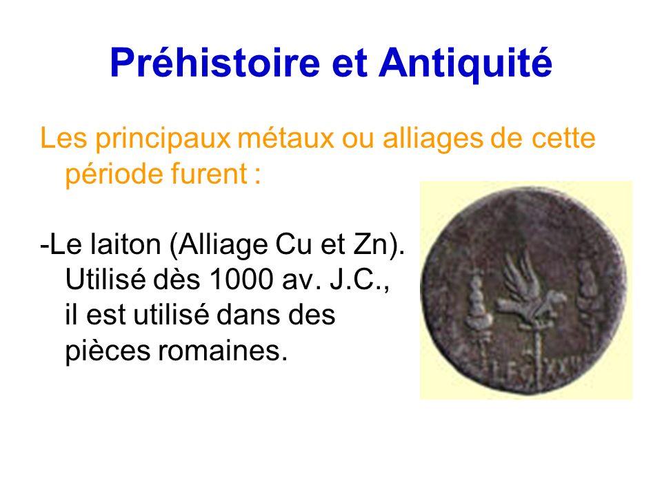 Préhistoire et Antiquité Les principaux métaux ou alliages de cette période furent : -Le laiton (Alliage Cu et Zn). Utilisé dès 1000 av. J.C., il est
