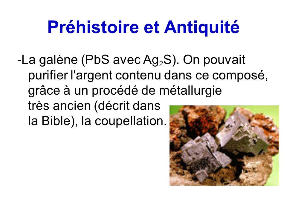 Préhistoire et Antiquité -La galène (PbS avec Ag 2 S). On pouvait purifier l'argent contenu dans ce composé, grâce à un procédé de métallurgie très an