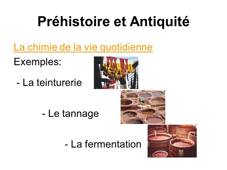 Préhistoire et Antiquité La chimie de la vie quotidienne Exemples: - La teinturerie - Le tannage - La fermentation