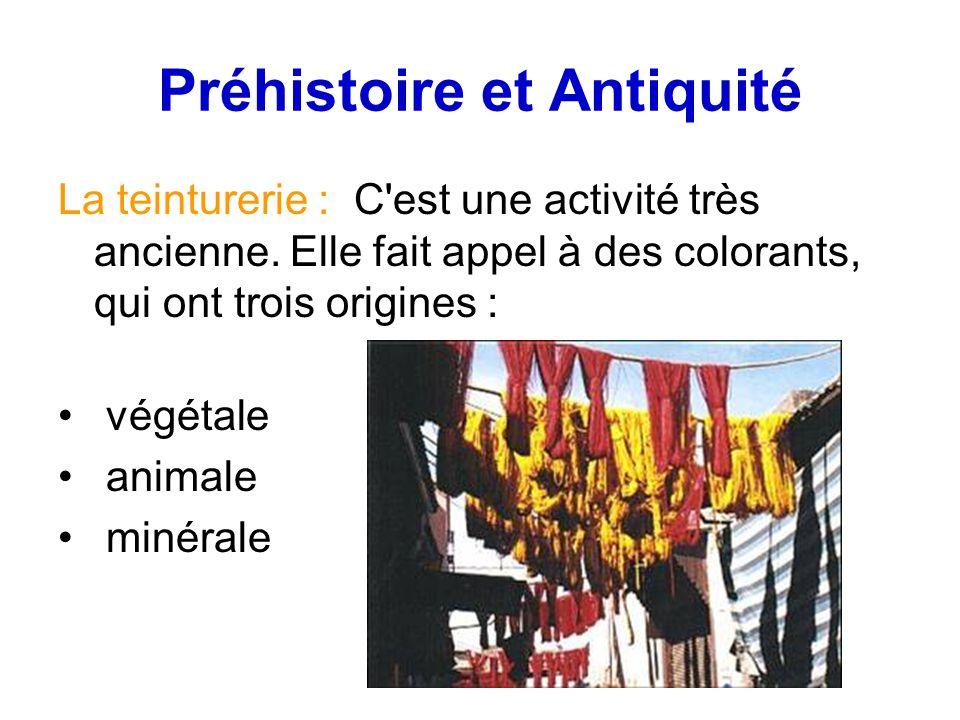 Préhistoire et Antiquité La teinturerie : C est une activité très ancienne.