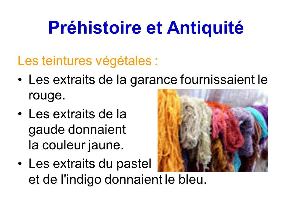 Préhistoire et Antiquité Les teintures végétales : Les extraits de la garance fournissaient le rouge.