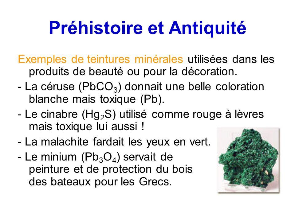 Préhistoire et Antiquité Exemples de teintures minérales utilisées dans les produits de beauté ou pour la décoration. - La céruse (PbCO 3 ) donnait un