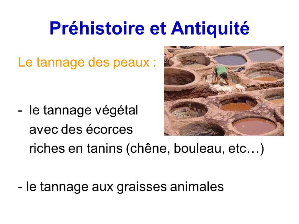 Préhistoire et Antiquité Le tannage des peaux : -le tannage végétal avec des écorces riches en tanins (chêne, bouleau, etc…) - le tannage aux graisses animales