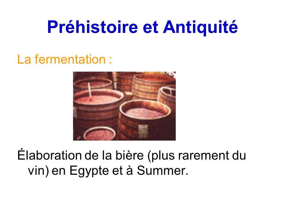 Préhistoire et Antiquité La fermentation : Élaboration de la bière (plus rarement du vin) en Egypte et à Summer.