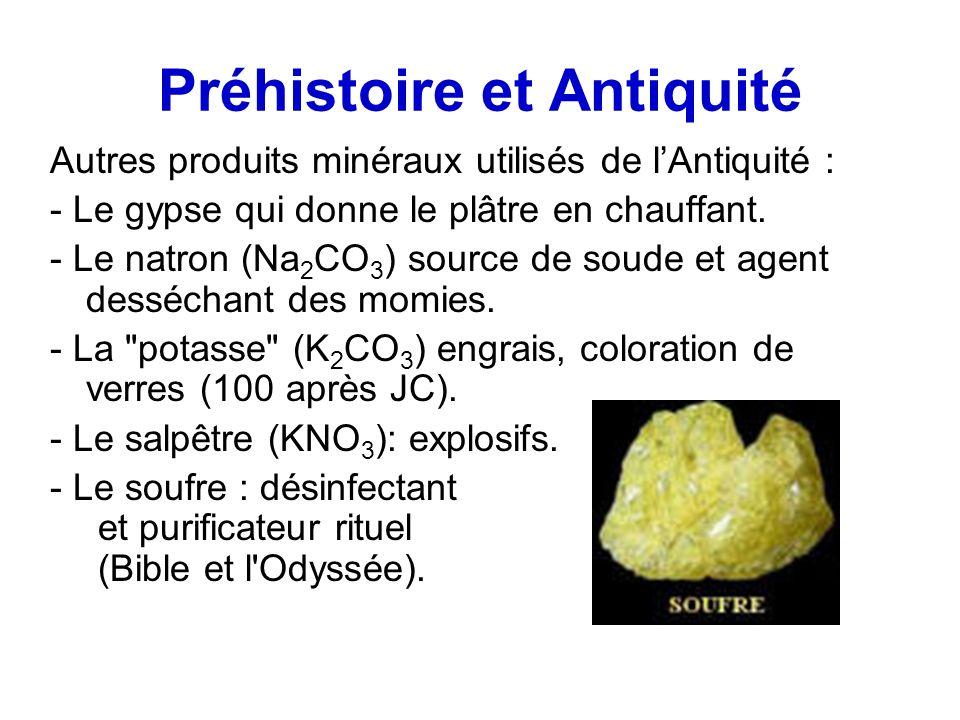 Préhistoire et Antiquité Autres produits minéraux utilisés de lAntiquité : - Le gypse qui donne le plâtre en chauffant. - Le natron (Na 2 CO 3 ) sourc