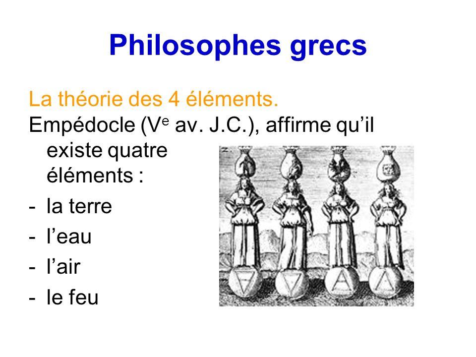 Philosophes grecs La théorie des 4 éléments.Empédocle (V e av.