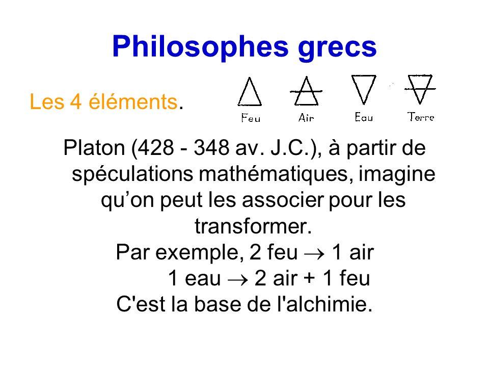 Philosophes grecs Les 4 éléments. Platon (428 - 348 av. J.C.), à partir de spéculations mathématiques, imagine quon peut les associer pour les transfo