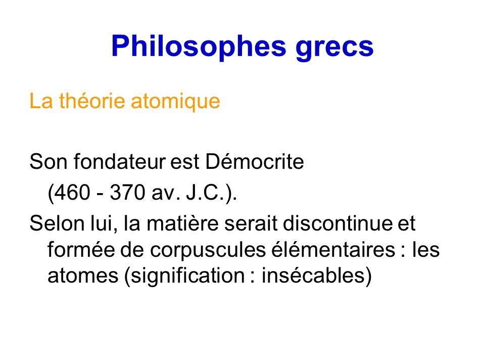 Philosophes grecs La théorie atomique Son fondateur est Démocrite (460 - 370 av. J.C.). Selon lui, la matière serait discontinue et formée de corpuscu