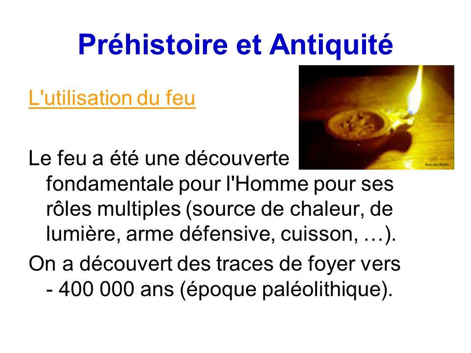 Préhistoire et Antiquité L utilisation du feu Le feu a été une découverte fondamentale pour l Homme pour ses rôles multiples (source de chaleur, de lumière, arme défensive, cuisson, …).