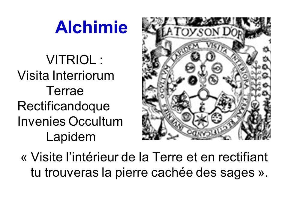 Alchimie VITRIOL : Visita Interriorum Terrae Rectificandoque Invenies Occultum Lapidem « Visite lintérieur de la Terre et en rectifiant tu trouveras la pierre cachée des sages ».