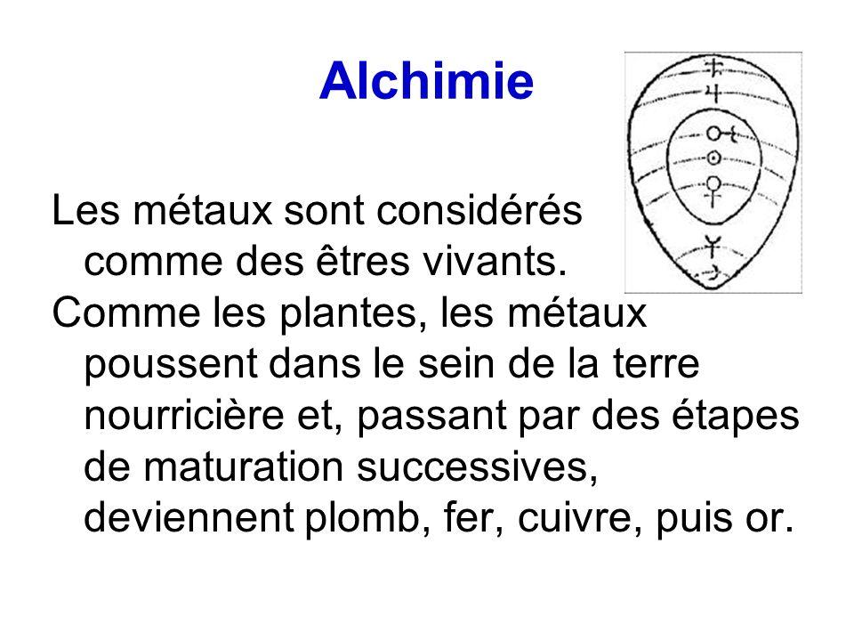 Alchimie Les métaux sont considérés comme des êtres vivants. Comme les plantes, les métaux poussent dans le sein de la terre nourricière et, passant p