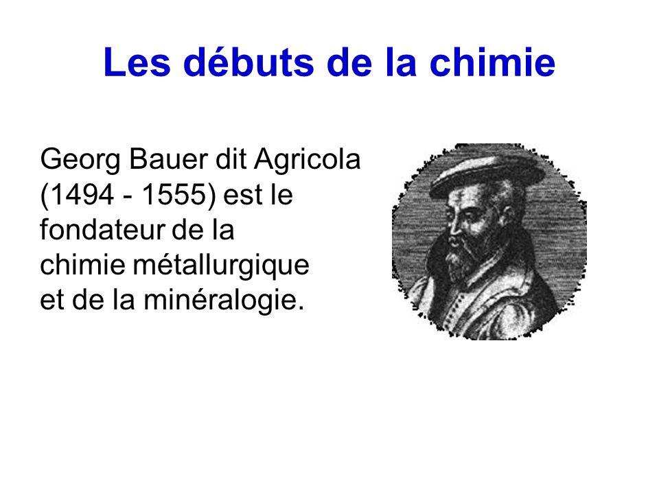 Les débuts de la chimie Georg Bauer dit Agricola (1494 - 1555) est le fondateur de la chimie métallurgique et de la minéralogie.