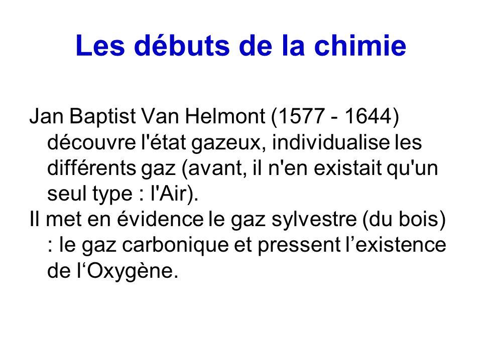 Les débuts de la chimie Jan Baptist Van Helmont (1577 - 1644) découvre l état gazeux, individualise les différents gaz (avant, il n en existait qu un seul type : l Air).
